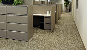 Image of office hallway with cubicles